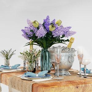 3D table set lilac model