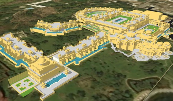 oberoi udaivilas resort architectural model