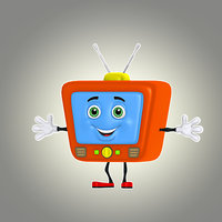 cartoon retro tv 3d obj
