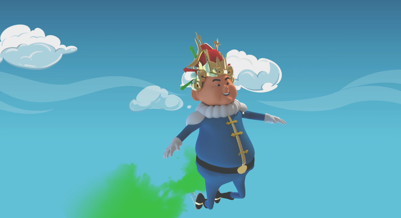 grumpy king cartoon character 3D model