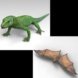 green lizard bat 3D model