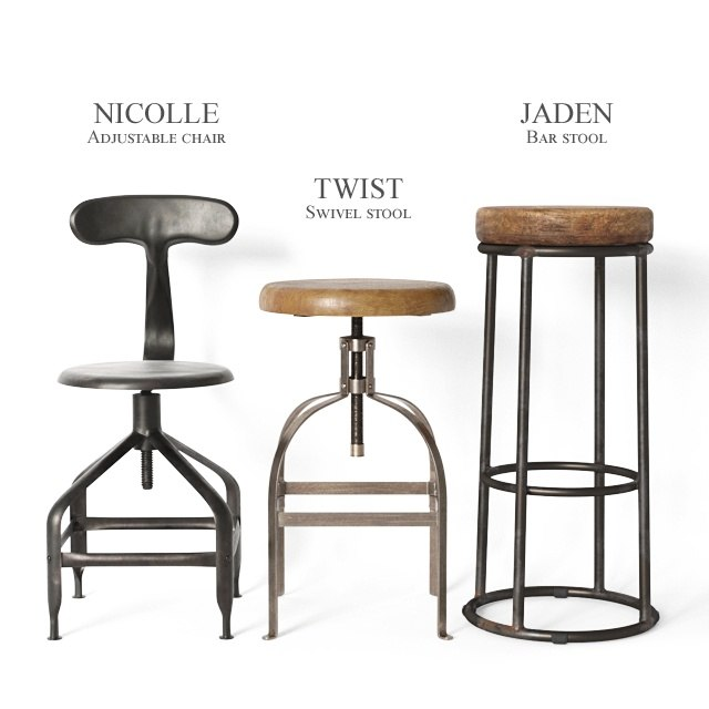 vintage industrial stools chair 3D