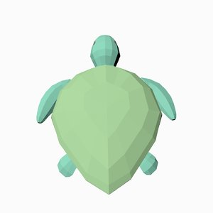 3D model turtle hard edged