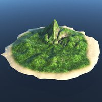 3D mountain island