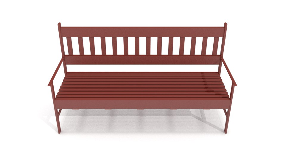 3D red wood bench model