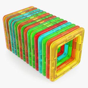 3D model magnetic designer toy rectangles