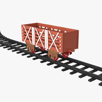 toy railway wagon rails 3D model