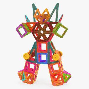 magnetic blocks robot 3D model