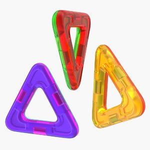 3D magnetic designer colored triangles model