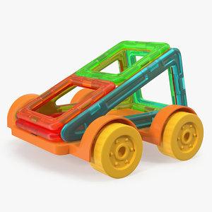magnetic designer toy car 3D model