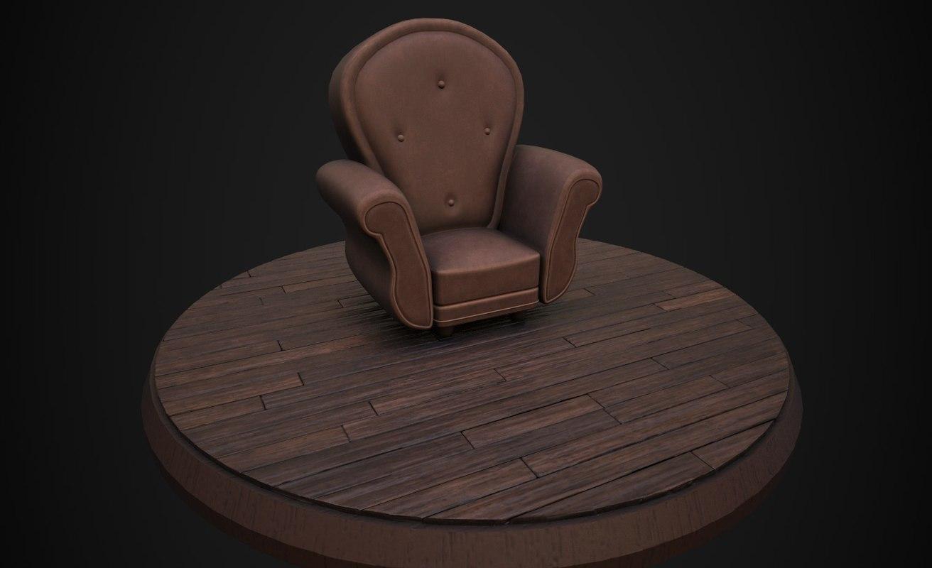 3d cartoon armchair