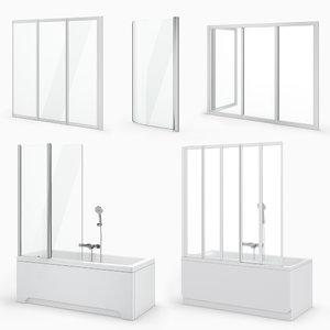 curtains baths ravak set 3D model