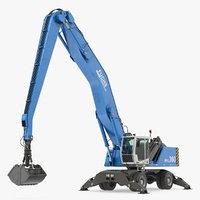 3D excavator wheels terex fuchs