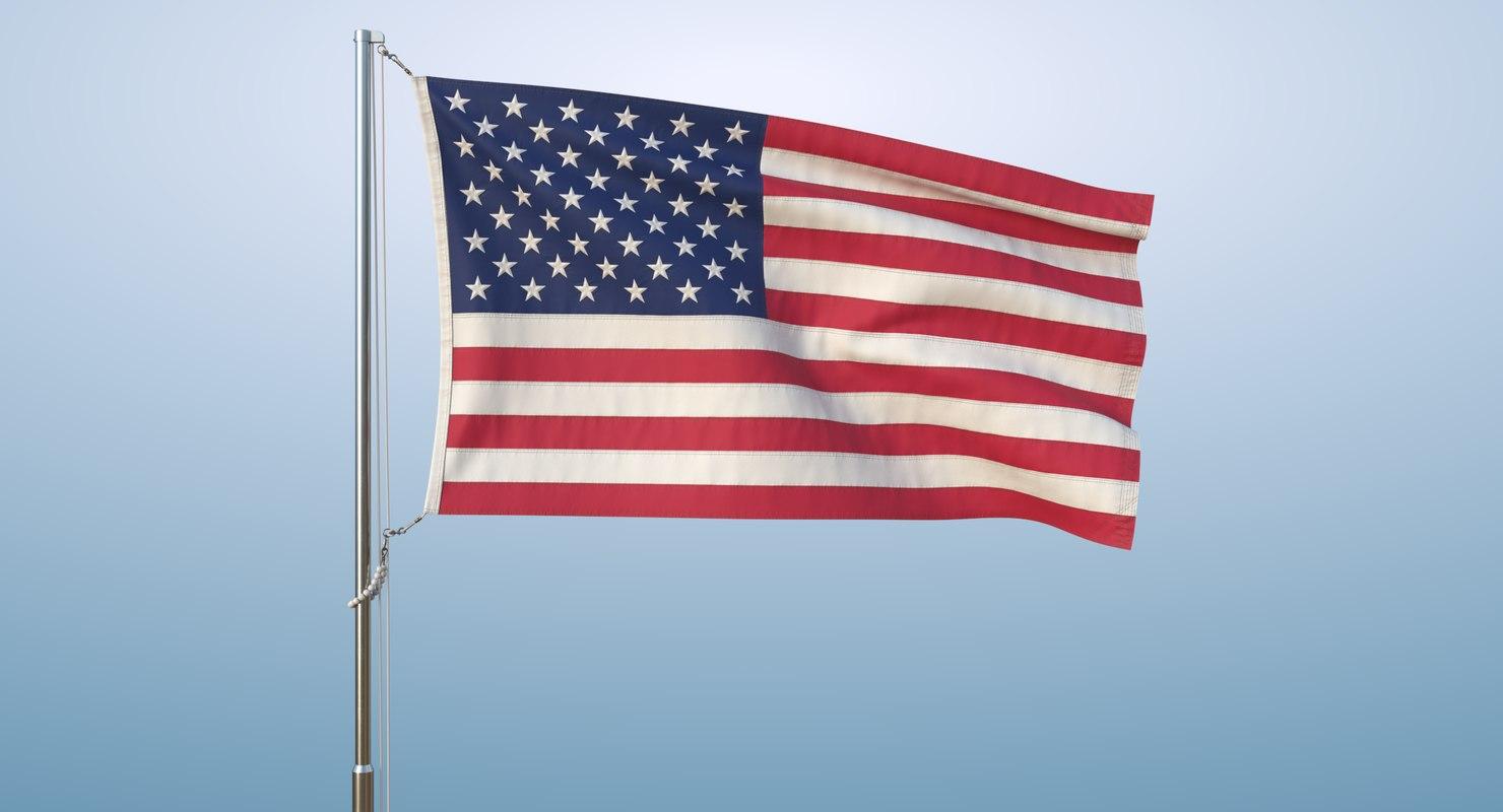 realistic flag animation usa model