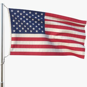 realistic flag animation usa model