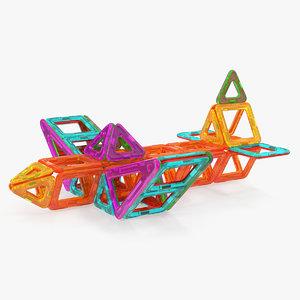 magnetic designer toy airplane 3D model