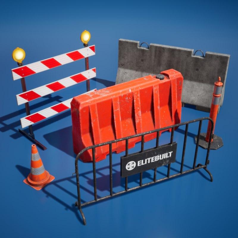 realistic traffic barriers 3D model