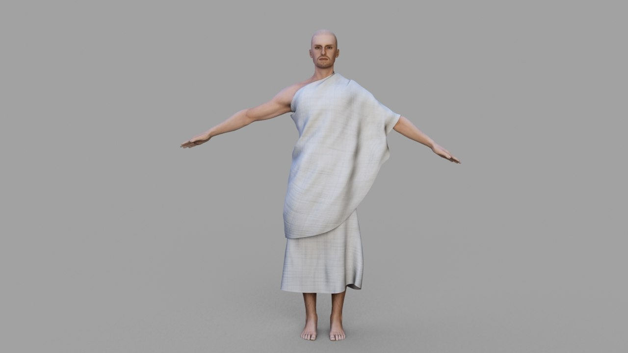 hajj character rigged cloth 3D model