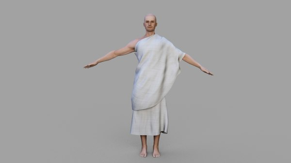 hajj character rigged cloth 3D model