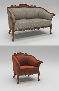 cabriole seating sofa 3D