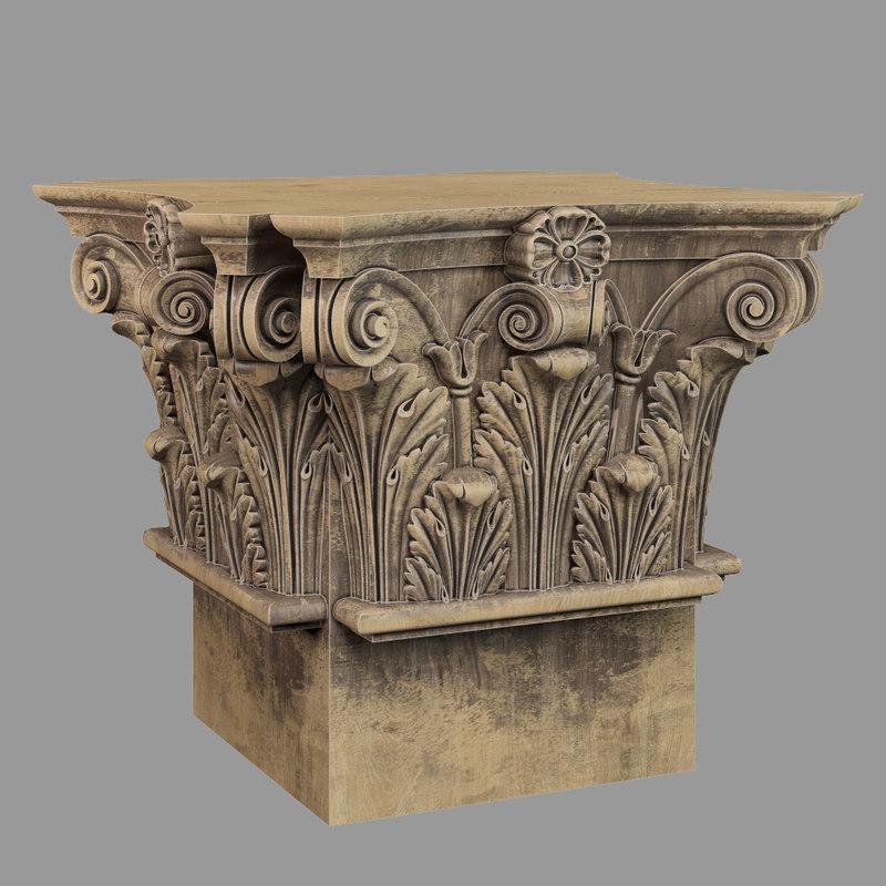 3D model capital column decor