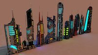 futuristic city package 3D model