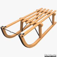 3D wooden sledge