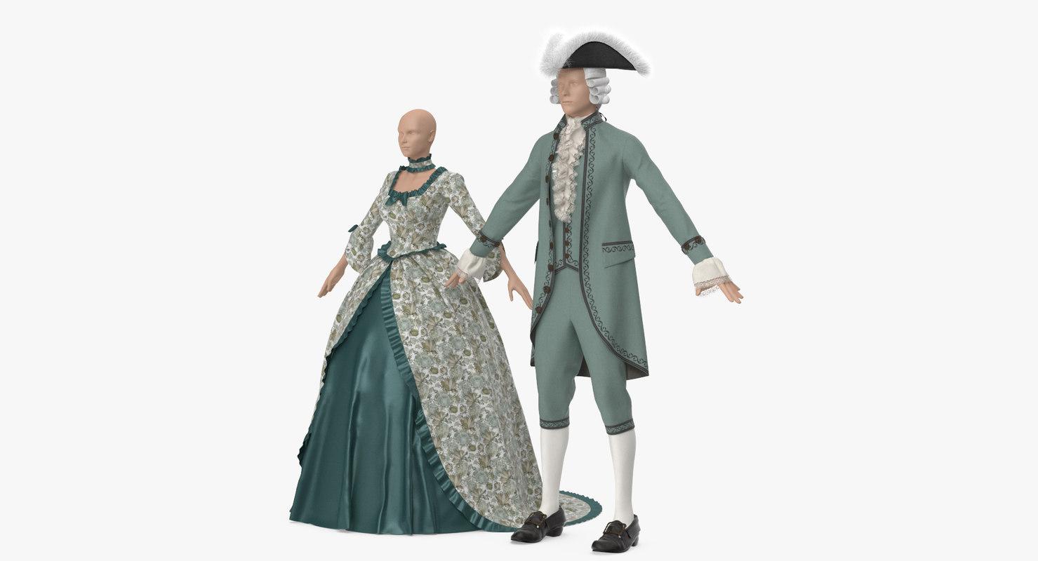 3D model vintage clothing men women s