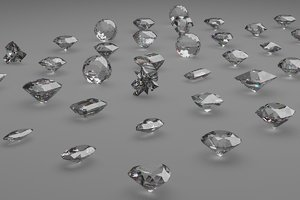 3D gem cuts pack model