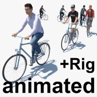 cyclists animation rig 3D model
