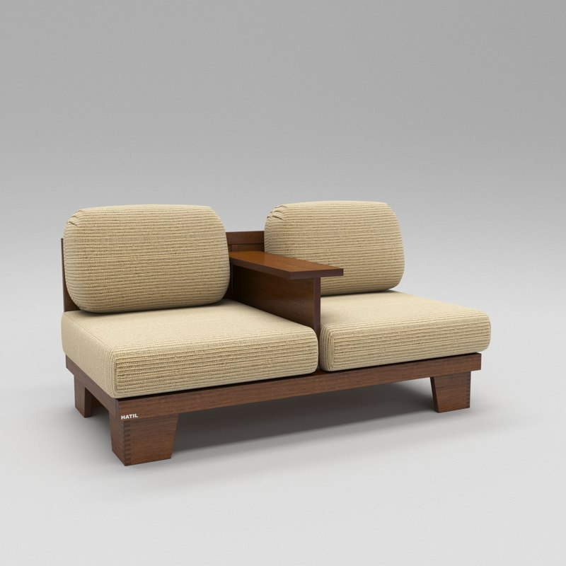 double seating conjoined sofa 3D model