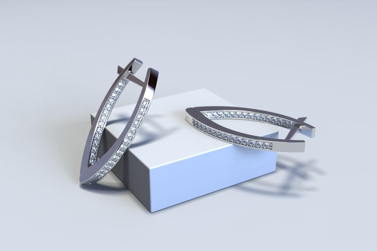 jewelry diamond earrings model