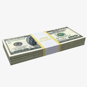 100 dollar bills pack 3D model