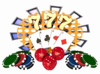 3D gamble poker chip playing cards