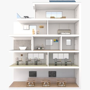 3D apartment building section