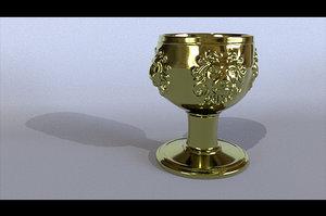 3D cup gold lion model