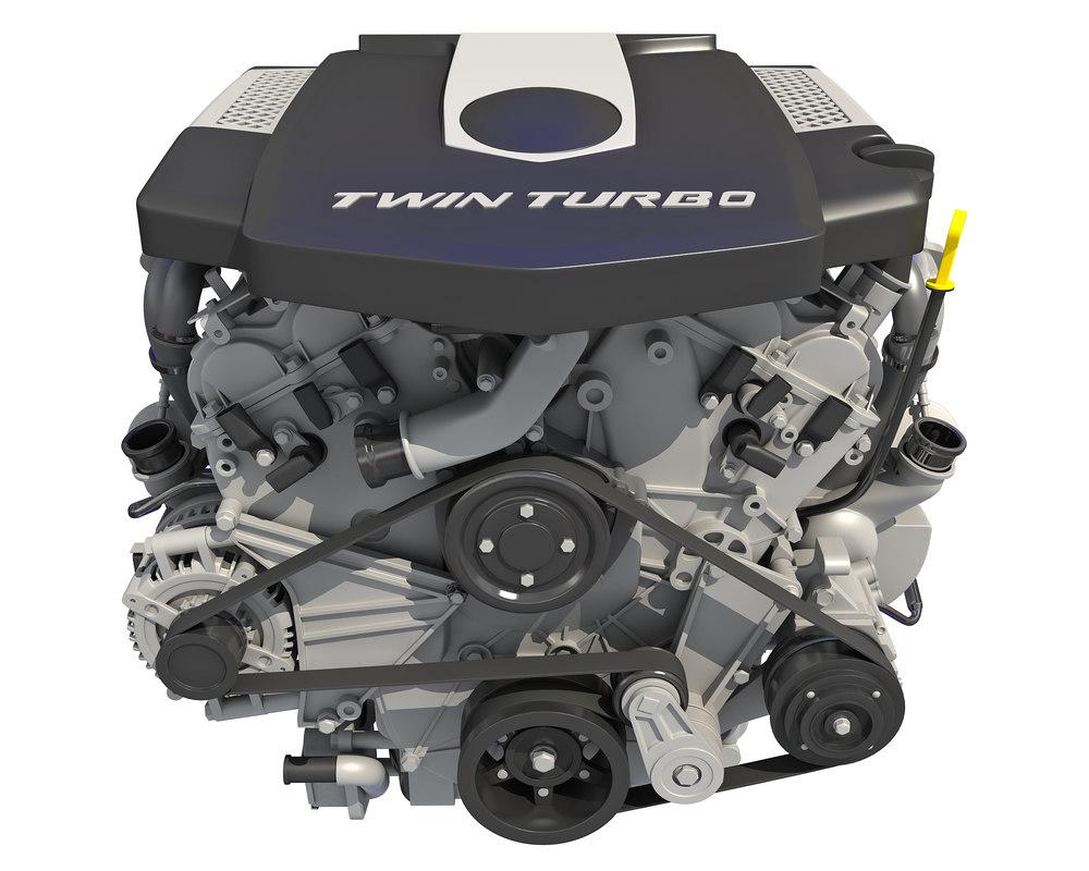 3D twin turbo v6 car engine