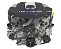 3D twin turbo v6 car engine
