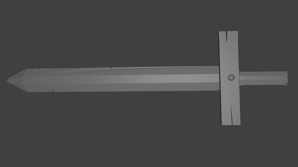 wooden sword 3D model