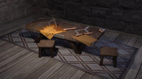 medieval table games asset model