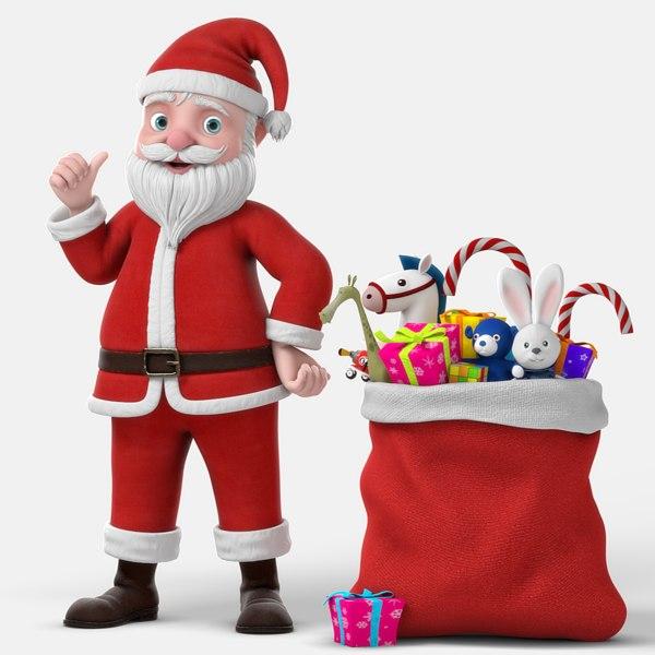 3D cartoon santa claus rigged character model