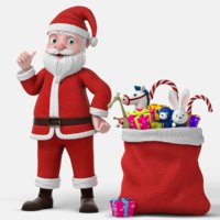 3D cartoon santa claus rigged character model