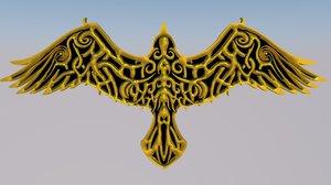 icon emblem nordic raven 3D model