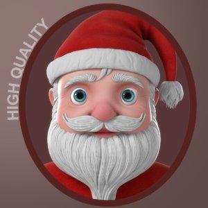 cartoon santa claus character 3D model