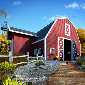 3D barn farm architecture model