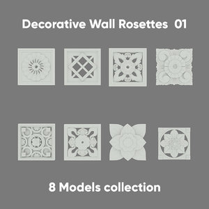 3D decorative rosette model