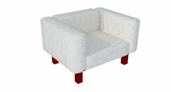 3D armchair white leather