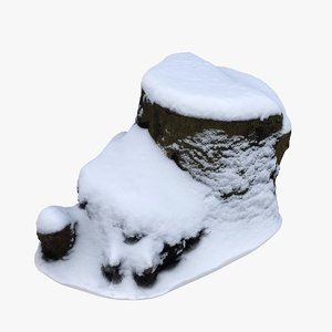 scan tree stump snow 3D model