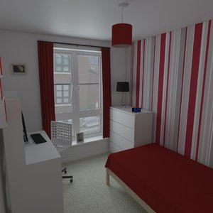 3D model small bedroom interior