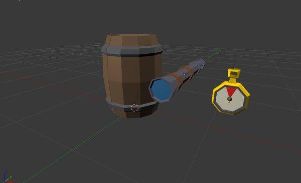 lowpoly telescope 3D model